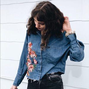 Crop flower Jeans Blouse